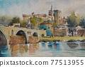 歐洲的小鎮水彩山水畫 77513955