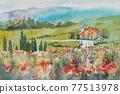 歐洲小村莊,水彩畫,山水畫 77513978