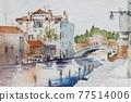 歐洲城市威尼斯的水彩山水畫 77514006