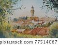 法國南部的一個小村莊,水彩山水畫 77514067