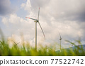 Wind power plant. green meadow with Wind turbines generating electricity 77522742