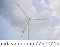 Wind power plant. green meadow with Wind turbines generating electricity 77522745