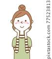 害羞的年輕女子媽媽 77523813