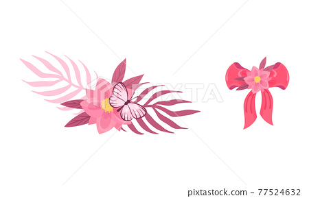 Ribbon Bow and Floral Decoration as Ballet Accessory Vector Set 77524632