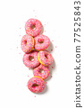 Cute pink yummy donuts. Isolated. Top view.  77525843