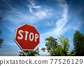 Stop Road Sign on Blue sky with Clouds - Rural Scene Photography 77526129