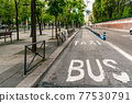 Bus and taxi sign painted on asphalt. 77530791