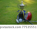 Golf champion trophy on green grass with golf clubs and golf ball in beautiful golf course. 77535551