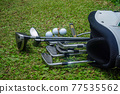 Closeup old golf bags on green. Set of golf clubs over green field background. 77535562