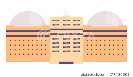 Industrial building cartoon vector illustration. Factory, observatory, college campus flat color object. Multistorey facility with dome shaped roof isolated on white background. Business headquarters 77539901