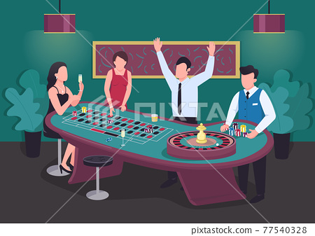 Casino flat color vector illustration. Man win at roulette game. Woman bet on red. Put stake on black. Croupier with chips. Gambler 2D cartoon characters in interior with competitors on background 77540328