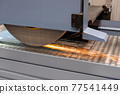 Surface grinding wheel machine working with sheet metal with sparks at factory 77541449