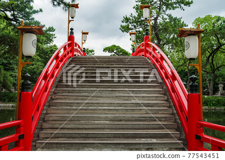 sumiyoshi grand shrine, an arched bridge, sorihashi 77543451