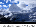 Snow mountains and lake under blue sky in tibet,China 77545261