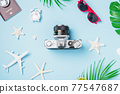 camera films, airplane, passport, starfish, shells traveler tropical accessories 77547687