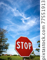 Stop Road Sign on Blue sky with Clouds - Rural Scene Photography 77551913