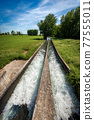 Two Small Concrete Irrigation Canals in the Padan Plain Lombardy Italy 77555011