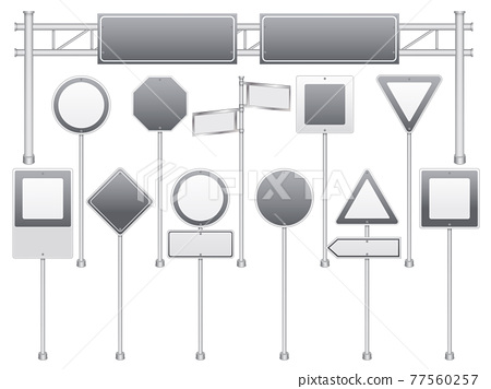 Realistic Blank Road Signs Set 77560257