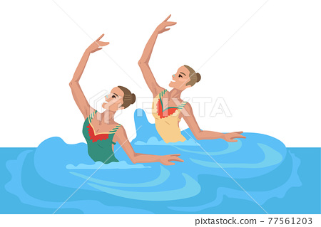 Girls in the pool, synchronized swimming, performing an exercise, dance in the water, sportswoman's den 77561203