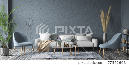 Modern interior design of apartment. Cozy living room with gray sofa, coffee tables and armchairs. Home. 3d rendering 77562608