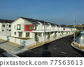 SEREMBAN, MALAYSIA -APRIL 20, 2021: New double story luxury terrace house in Malaysia.  Construction almost completed. Designed by an architect with a modern and contemporary style.  77563613