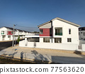 SEREMBAN, MALAYSIA -APRIL 20, 2021: New double story luxury terrace house in Malaysia.  Construction almost completed. Designed by an architect with a modern and contemporary style.  77563620