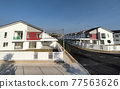 SEREMBAN, MALAYSIA -APRIL 20, 2021: New double story luxury terrace house in Malaysia.  Construction almost completed. Designed by an architect with a modern and contemporary style.  77563626