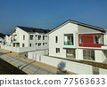 SEREMBAN, MALAYSIA -APRIL 20, 2021: New double story luxury terrace house in Malaysia.  Construction almost completed. Designed by an architect with a modern and contemporary style.  77563633