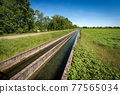 Two Small Concrete Irrigation Canals in the Countryside - Padan Plain Italy 77565034