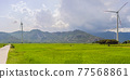 Wind power plant. green meadow with Wind turbines generating electricity 77568861