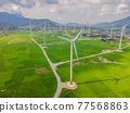 Wind power plant. green meadow with Wind turbines generating electricity 77568863