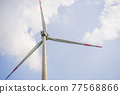 Wind power plant. green meadow with Wind turbines generating electricity 77568866