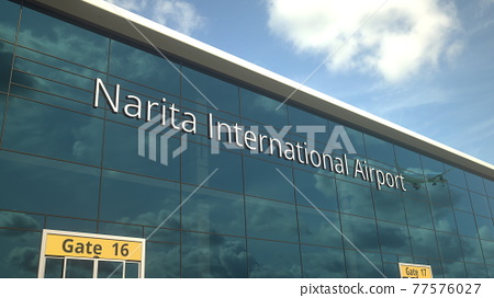 Taking off airplane reflecting in the modern windows with Narita International Airport text, 3d rendering 77576027