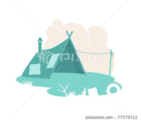 Refugee camp tent 2D vector web banner, poster 77579722