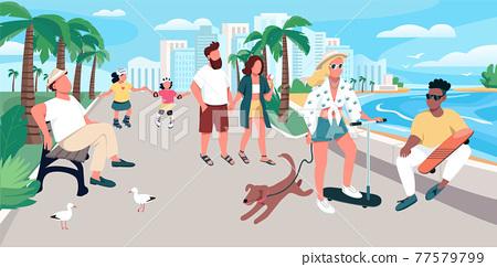 People walking on resort town street flat color vector illustration 77579799