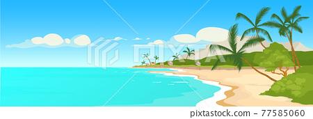 Tropical sandy beach flat color vector illustration 77585060