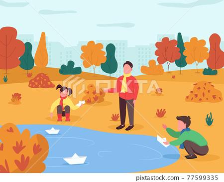 Autumn entertainment for kids semi flat vector illustration 77599335