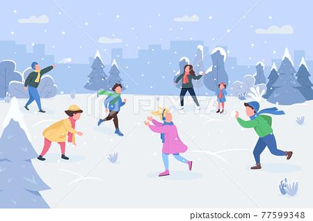 Snowball fight semi flat vector illustration 77599348