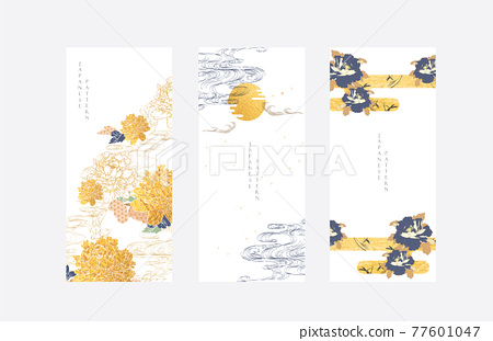 Chinese brush stroke template with gold texture vector. Peony flower and hand drawn wave pattern in vintage style. Abstract art  illustration. 77601047