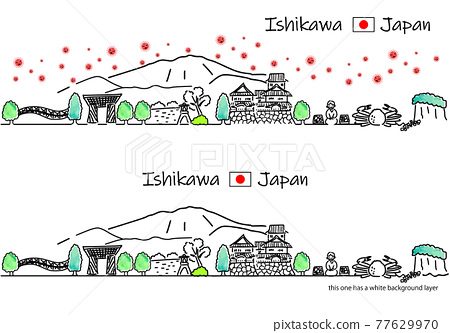 Ishikawa cityscape and simple line drawing set of new coronavirus 77629970