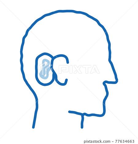 Human Ear doodle icon hand drawn illustration 77634663