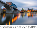 Chattanooga, Tennessee, USA downtown skyline on the Tennessee River 77635095