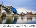 Chattanooga, Tennessee, USA downtown skyline on the Tennessee River 77635096