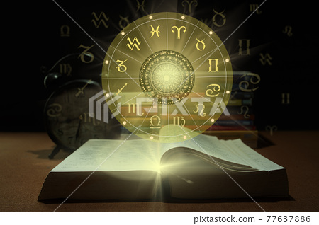 Zodiac sign wheel of fortune and constellation study for foretell education course. 77637886