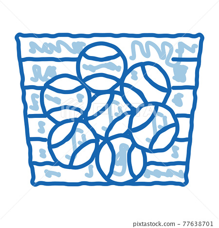 Basket With Balls doodle icon hand drawn illustration 77638701