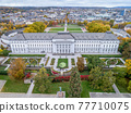 Koblenz City in Rhineland Palantino - Germany - aerial shot of historic German palace Building wit hhuge park 77710075