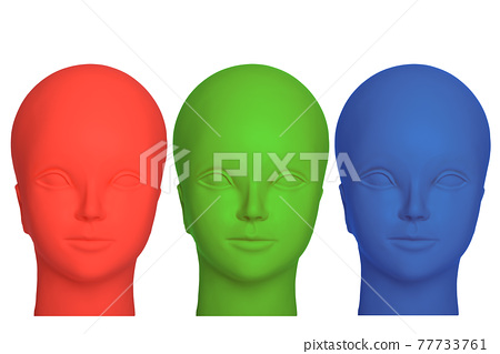 Three mannequin heads in red, green and blue colours, isolated on white background. 77733761