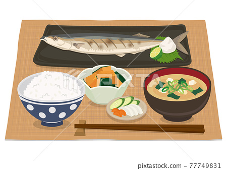 Japanese grilled fish set meal (saury) 77749831