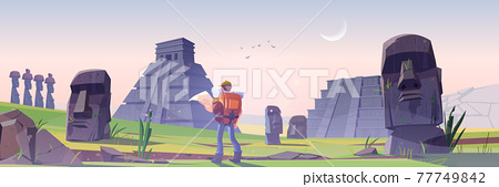 Hiker on Easter island with mayan pyramids 77749842