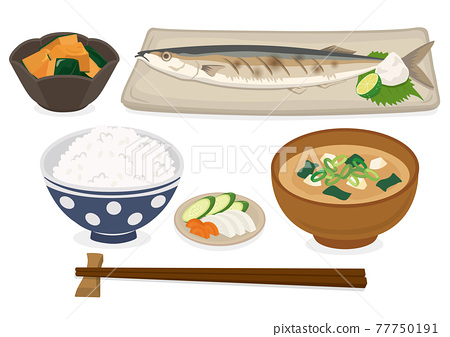 Japanese grilled fish set meal (saury) 77750191
